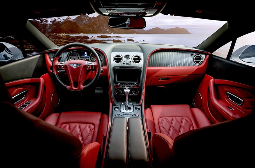 Photography of inside of car with leather details