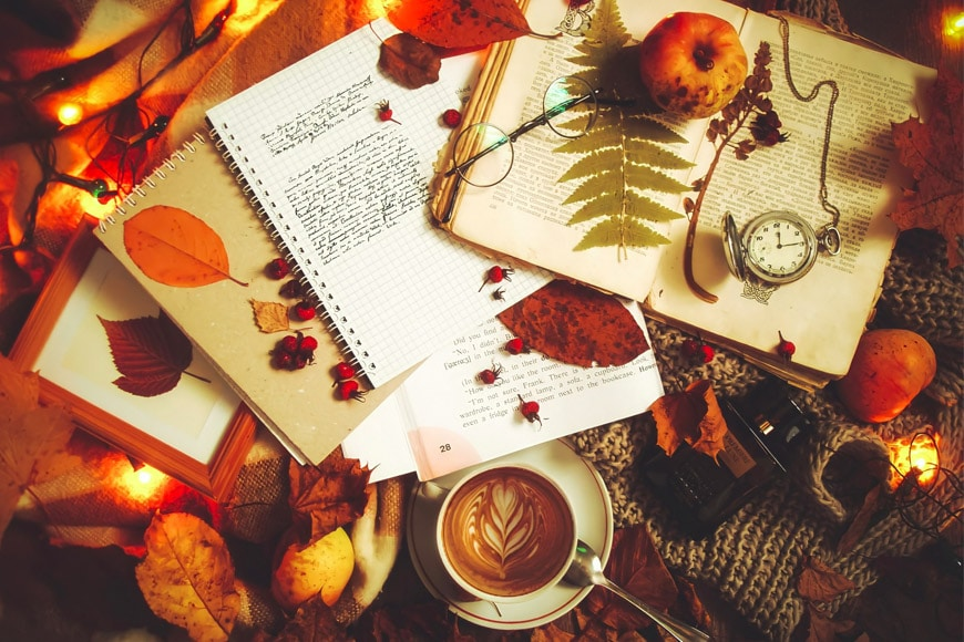 Seasonal still life with coffee and dry leaves