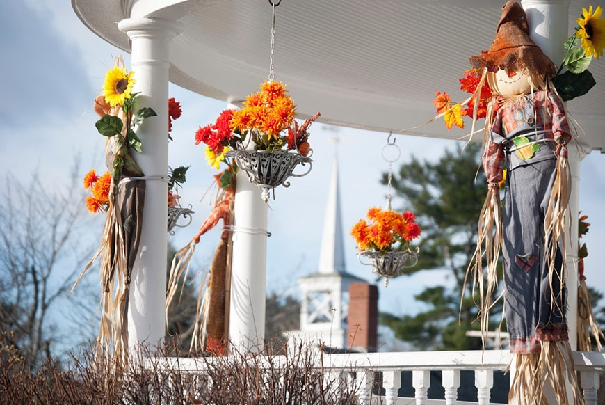 Autumn decorations on house