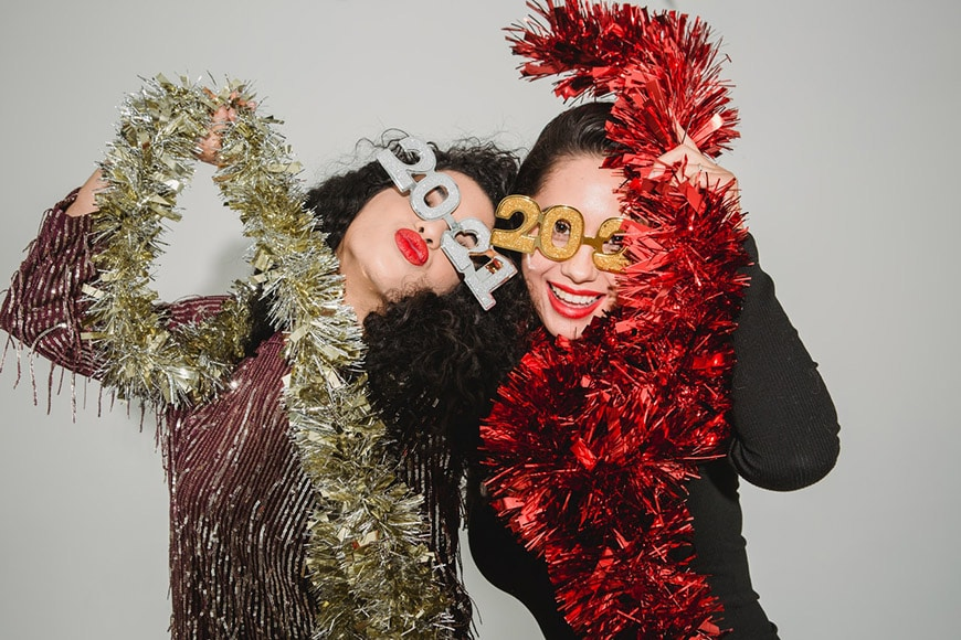Girl friends new years snaps photobooth style