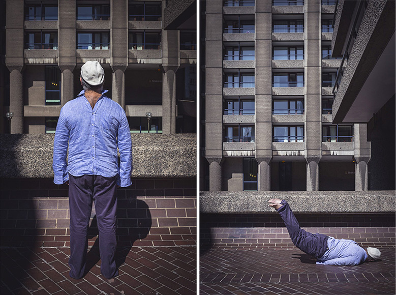 Surreal images of a man in backwards shirt