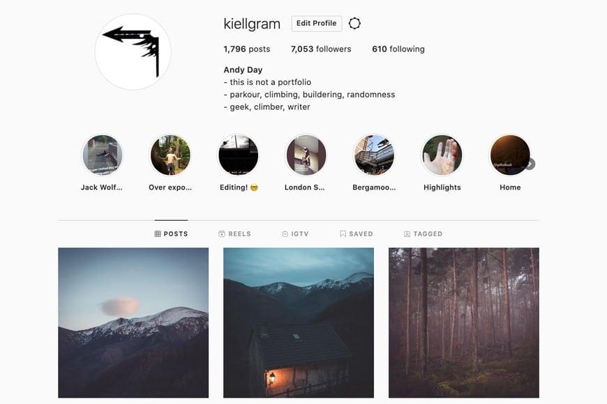 Instagram account screenshot
