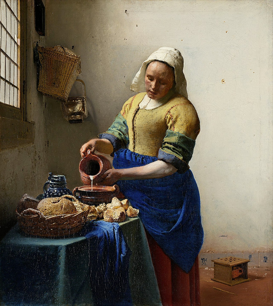 The Milkmaid classical art painting by Johannes Vermeer