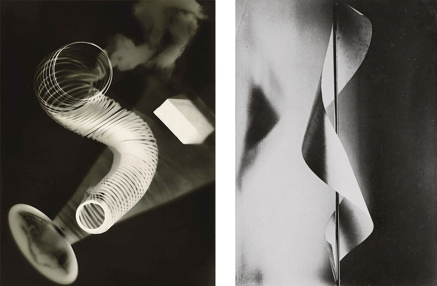Untitled Rayograph (left) and Lampshade (right) by Man Ray.