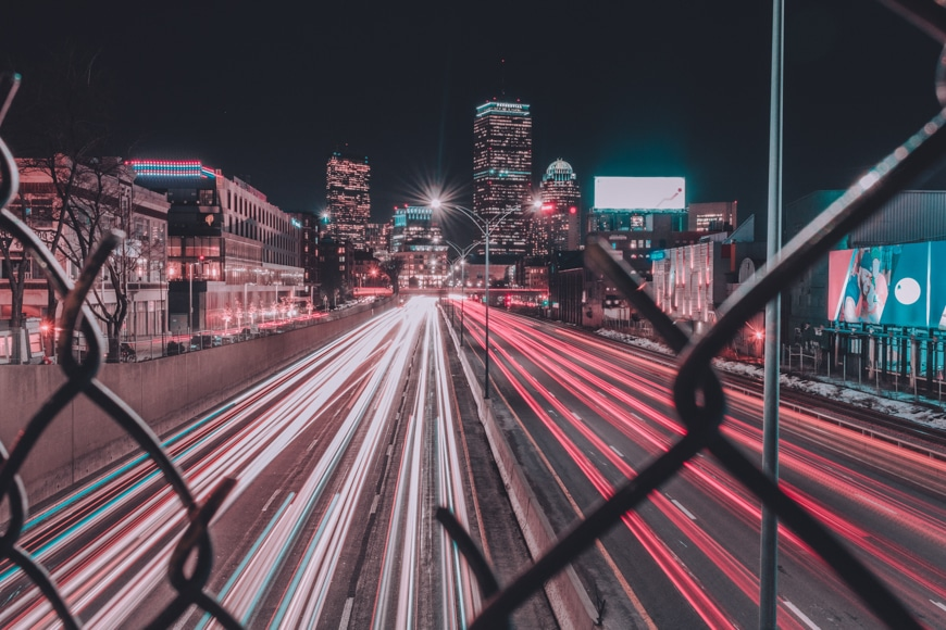 Photography in the city - lights on buildings and road