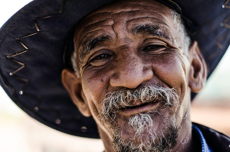 Portrait of old man with weathered skin