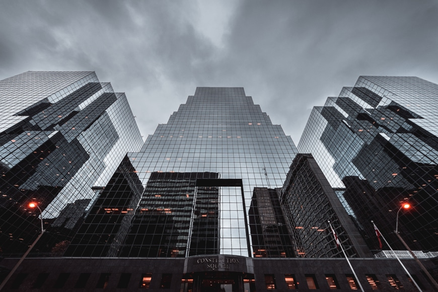 Architecture photos - looking at high rise structures from the ground up
