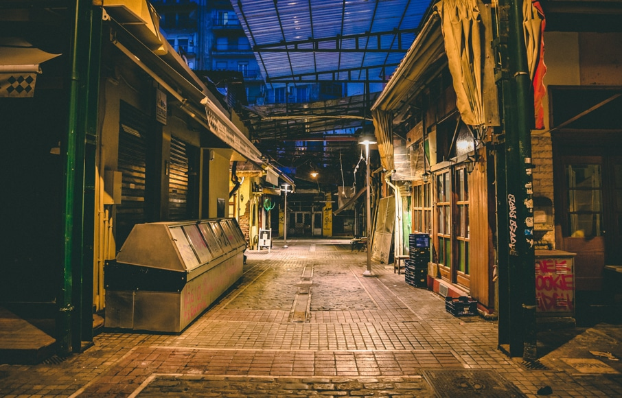 City photography - old markets closed up at night