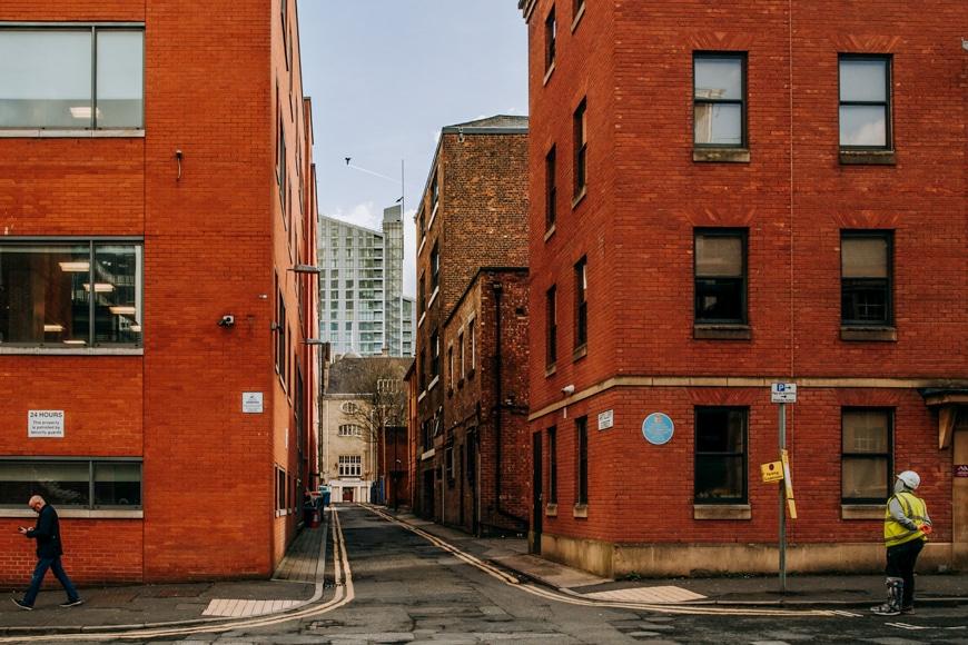 Urban photography - orange brick high rise buildings