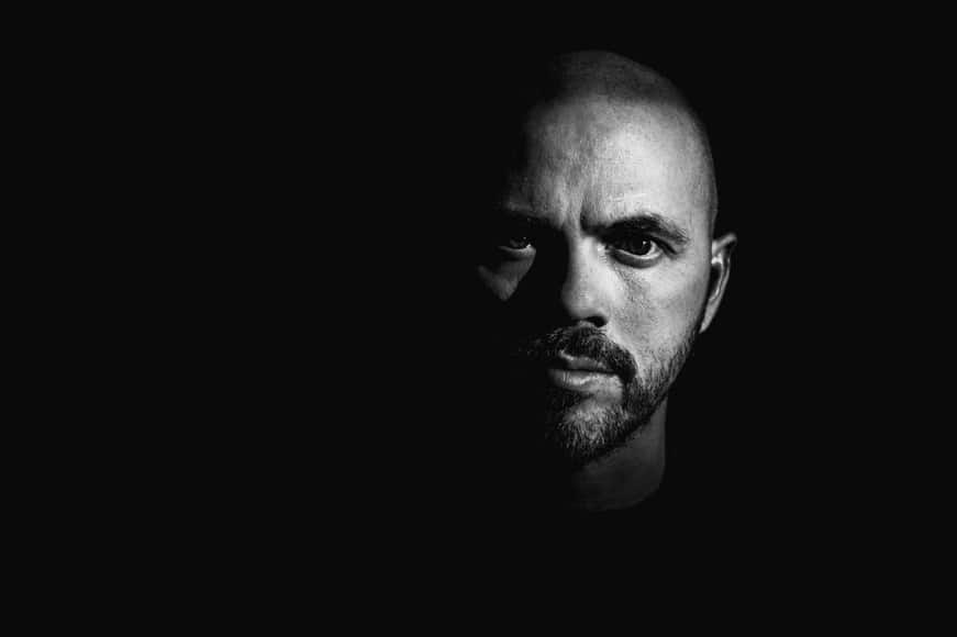 Shadowy portrait of man in black and white