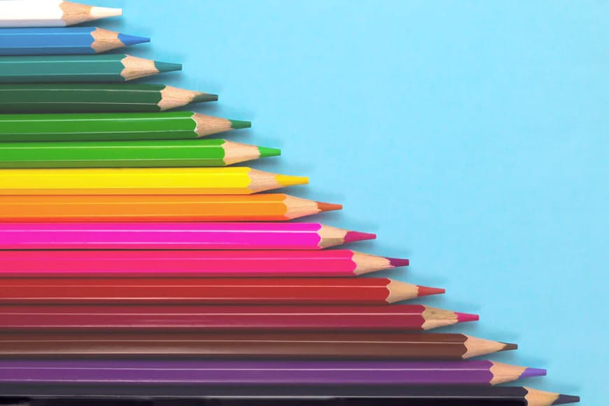 Pencils in a range of colors