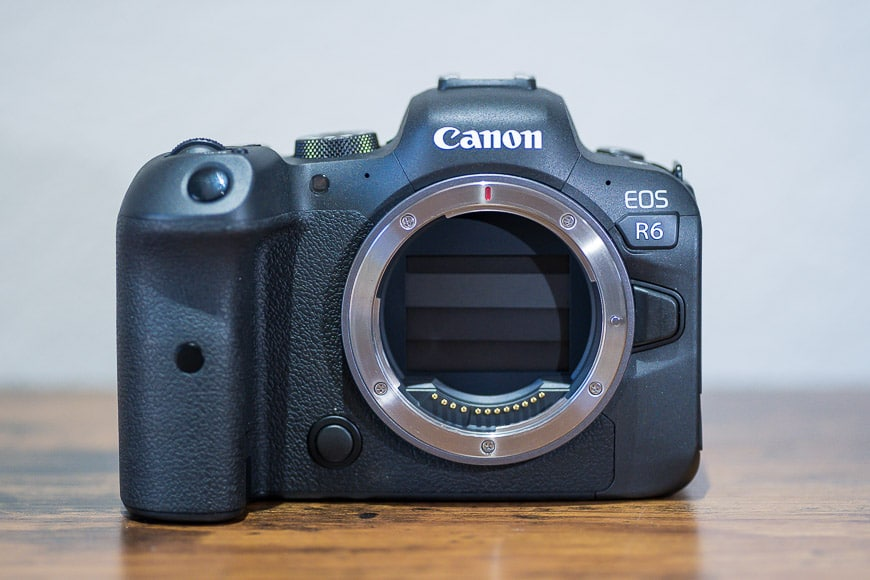 Canon EOS R6 shutter closed to protect the sensor from dust.