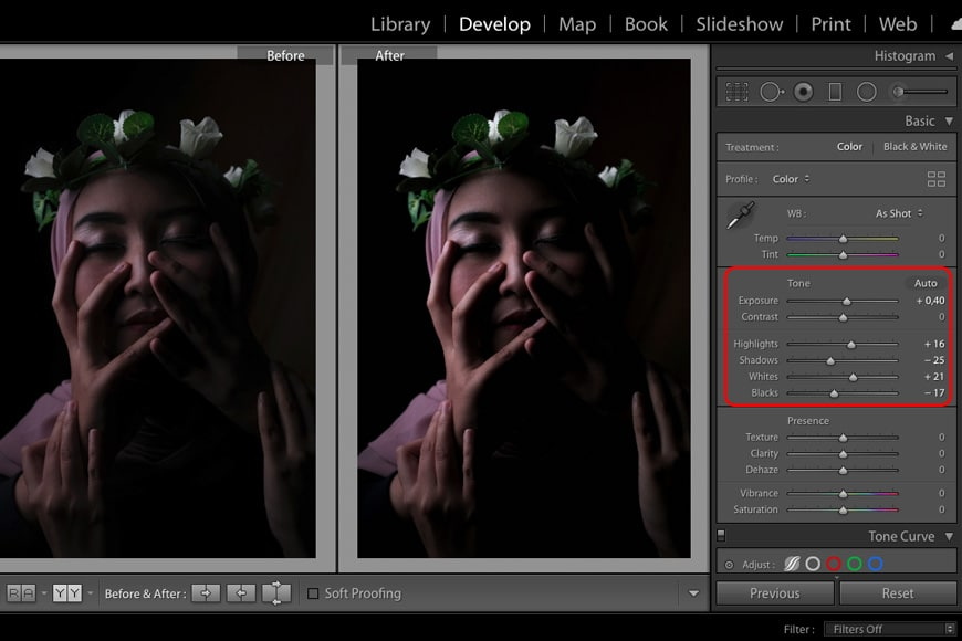 Add drama in post production using tone sliders
