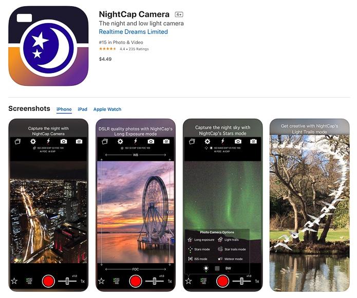NightCap Camera app screenshots