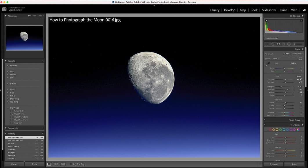 Using lightroom to edit astro photos