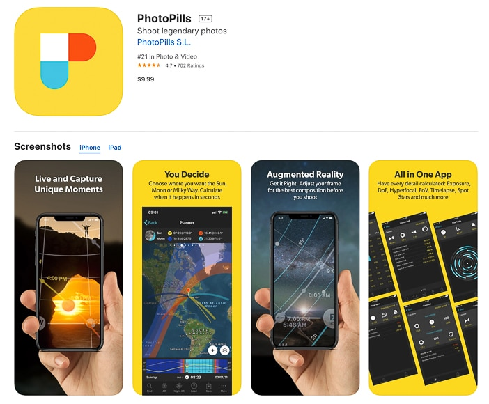 PhotoPills app for photography planning