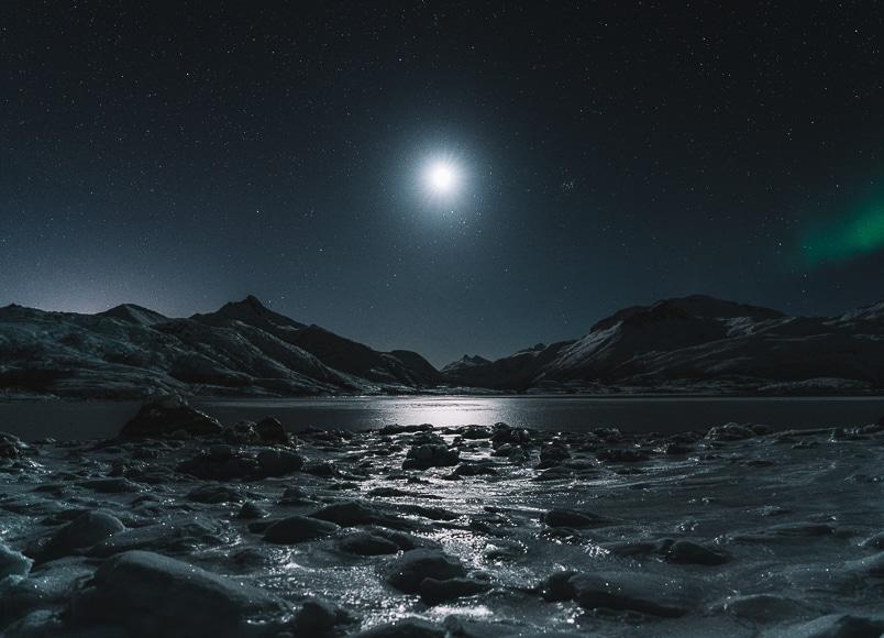 Moonlight photography over rocky landscape