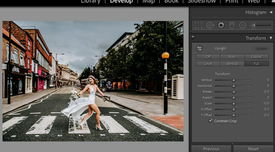 Correcting optical distortion in Lightroom