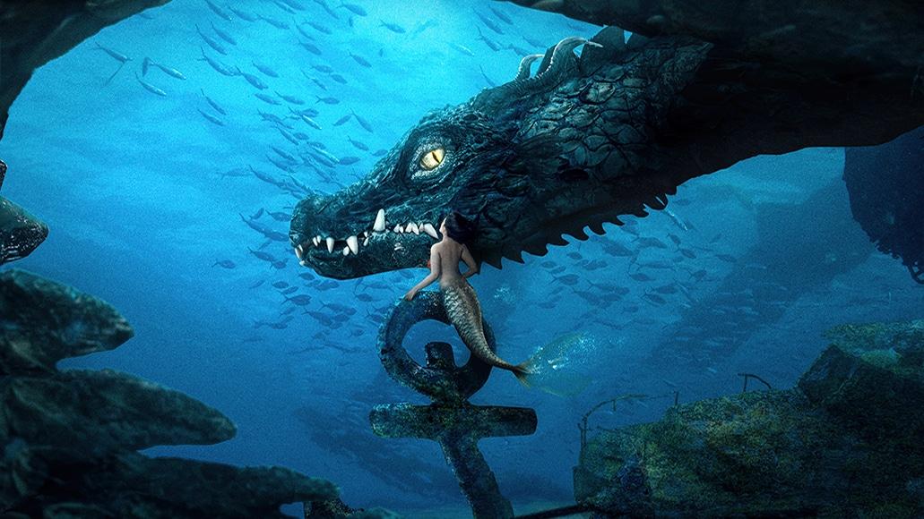 Fine art photo featuring fantasy dragon and mermaid by Katrina Yu