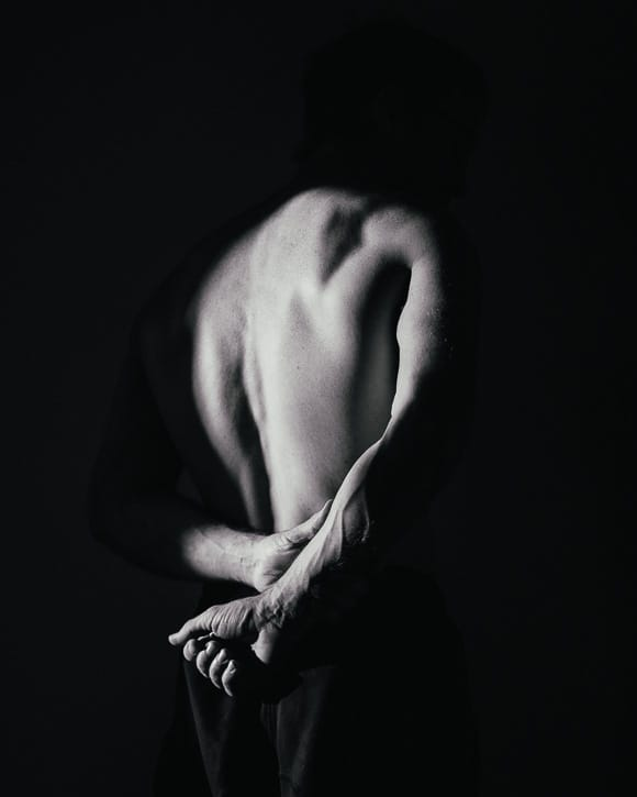 Male figure in black and white