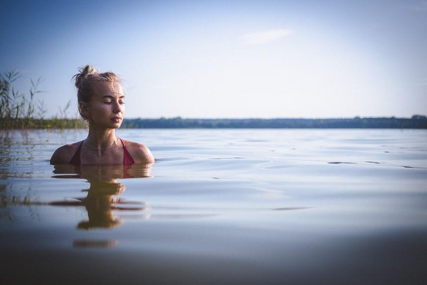 Girl in bikini in lake