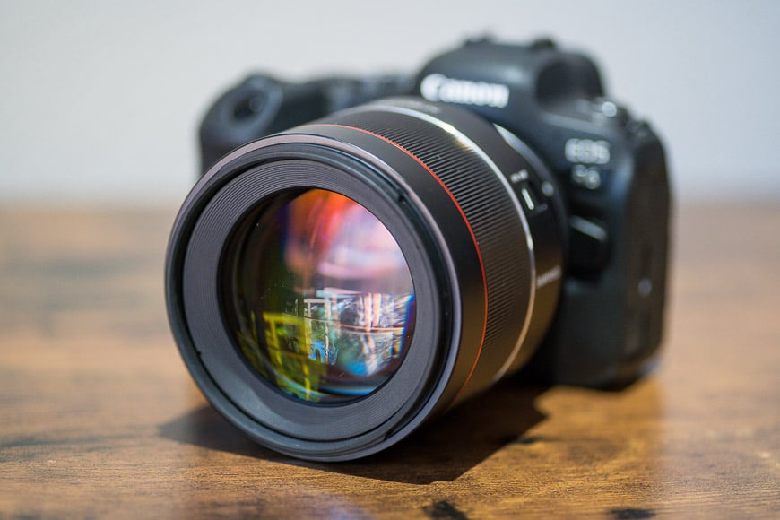 Samyang 85mm f/1.4 lens attached to Canon camera