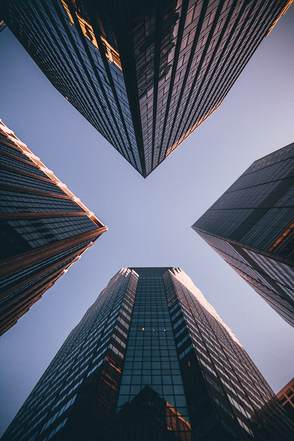 City looking up from below