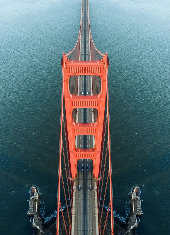 Aerial image of bridge shot from above