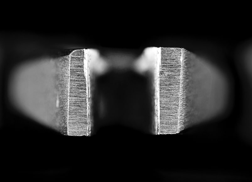 Macro detail of metal object in black and white