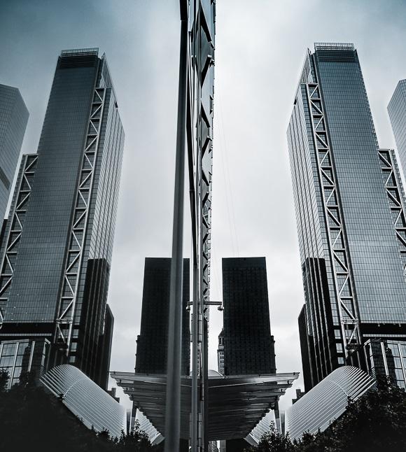 City skyscrapers mirror image