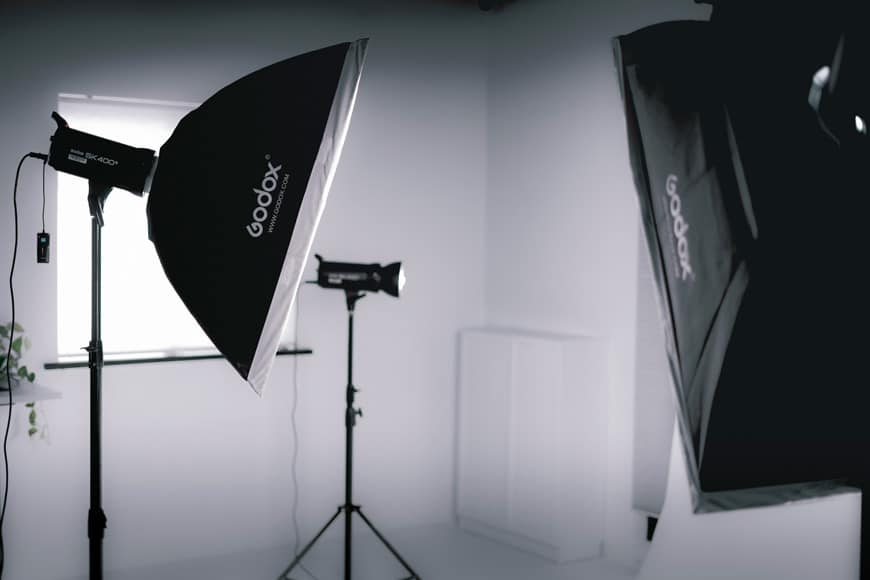 A softbox can be used in studio for softening light