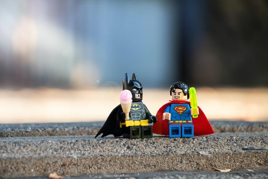 Batman and superman mini figures