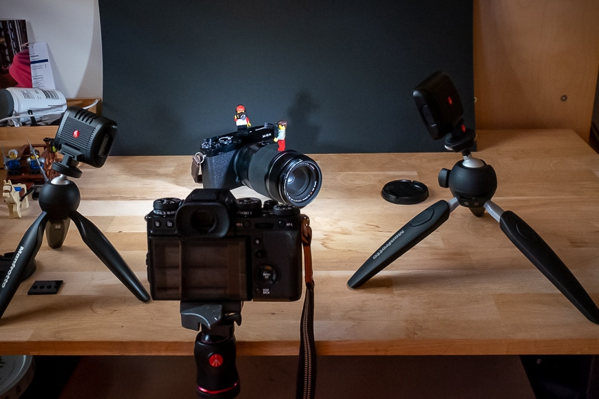 Photography gear with mini figurines