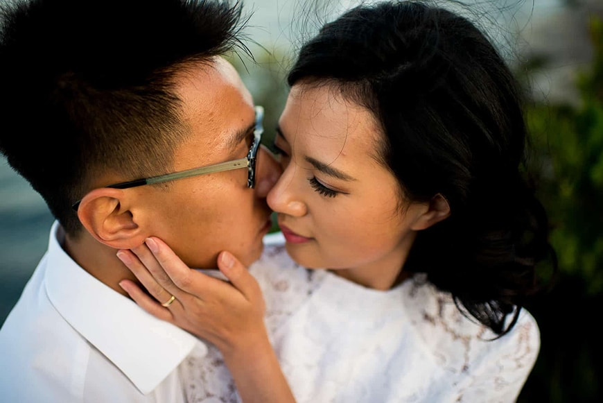 Almost kissing couple pose