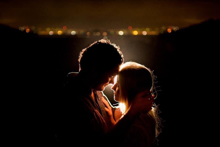 Backlit couple photo