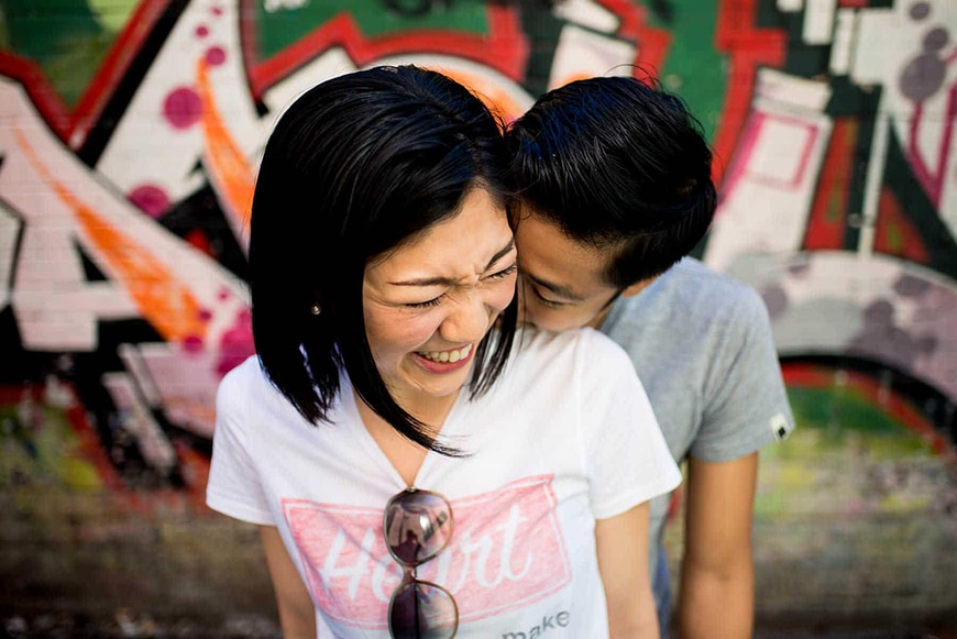 Candid shot of couple laughing