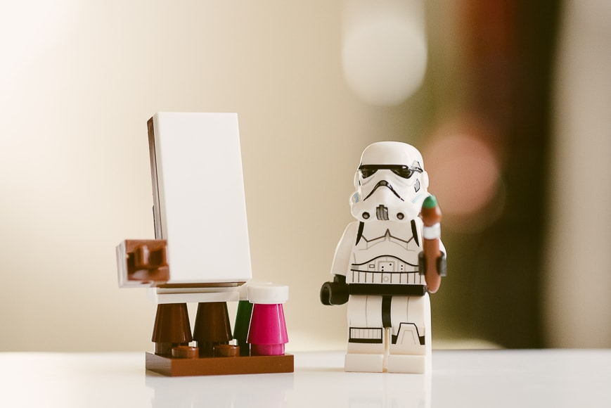 Stormtrooper painting a canvas