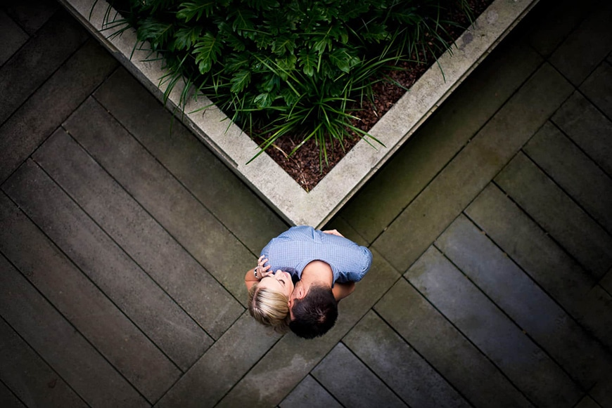 Fun birds eye angle for engagement photo