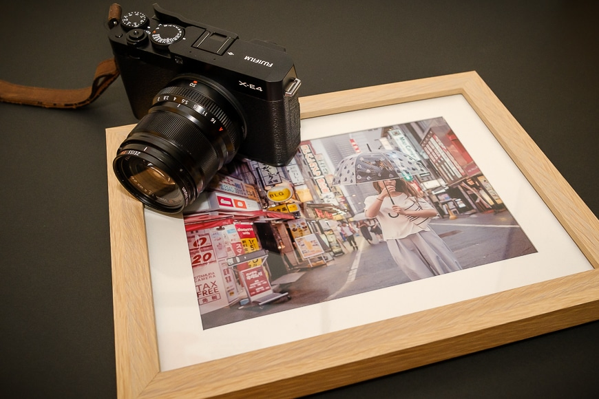 Framed photo of woman in Tokyo with Fujifilm X-E4