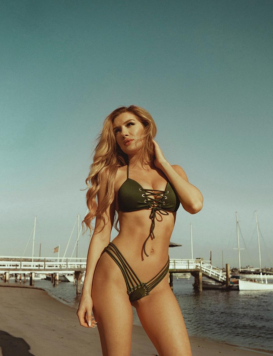 Beautiful model in green bikini