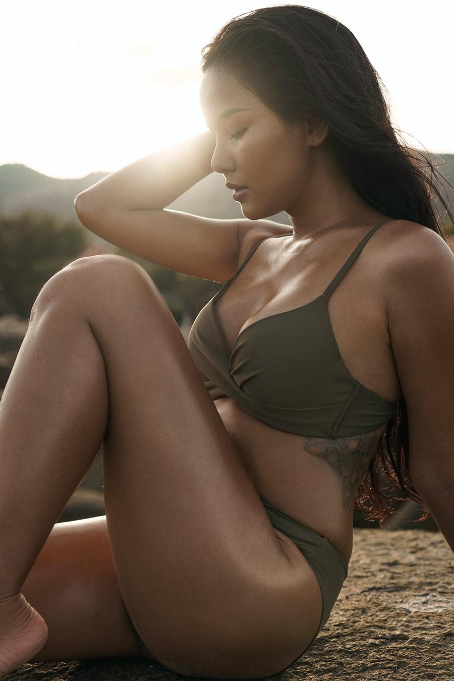 Girl at the beach in a bikini