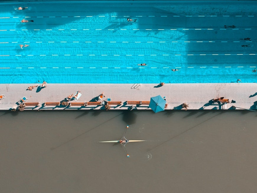 Shapes of swimmers photographed from aerial view
