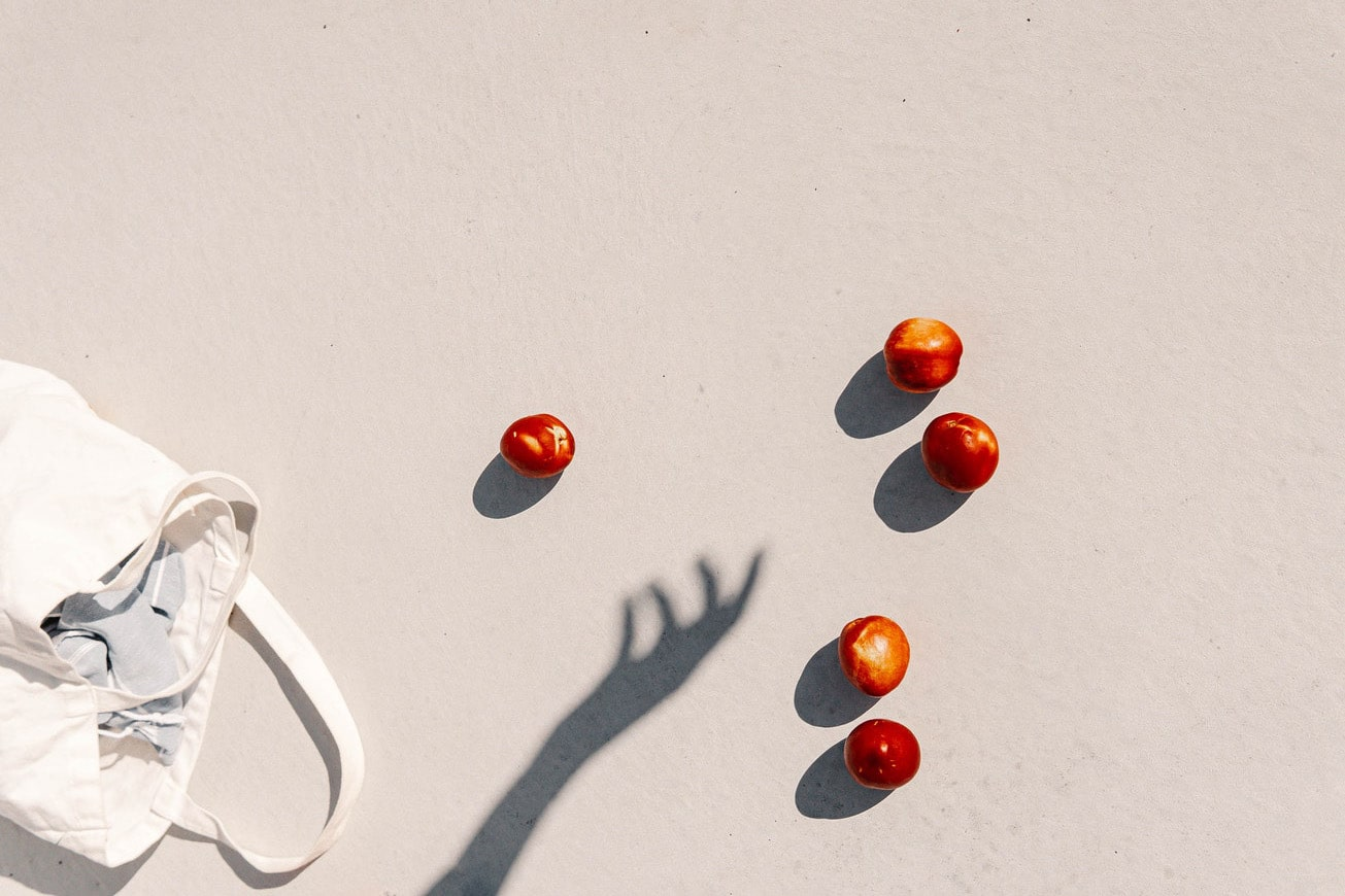 Form and shape captured in an image using fruit and shadows